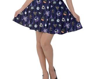 Spooky Pokemon Skirt - Short Skirt Ghost Pokemon Skirt Scary Pokemon Skirt Chandelure Ghastly Umbreon Plus Size Skirt Cosplay Ghost Skirt