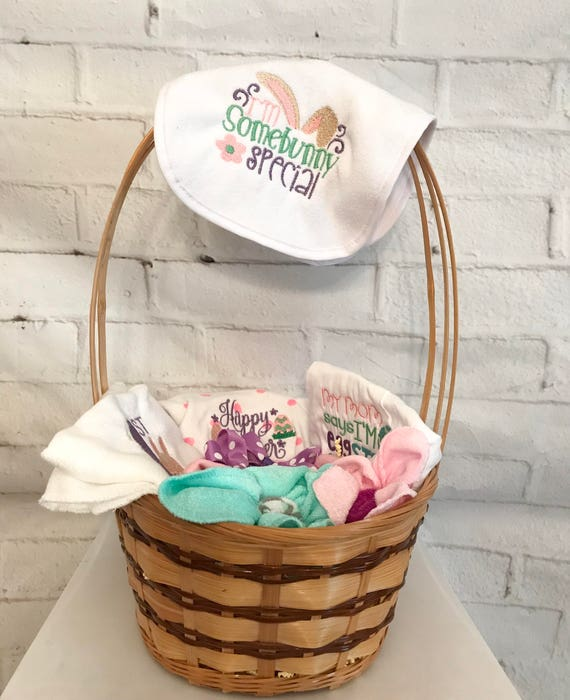 Easter basket baby first easter handmade easter basket like this item negle Gallery