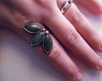 Jade Leaf Ring (size 8)