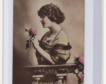 Handmade Blank Greetings Card, Upcycled Vintage Postcard,BIRTHDAY, GLAMOUROUS WOMAN, Rose