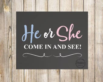 He Or She Sign | He Or She Party | He Or She Decor | Reveal Party Ideas | He Or She Reveal | He Or She Gender | Reveal Decorations