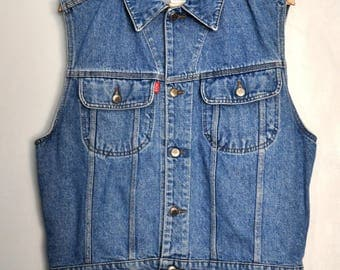 Vintage 90s denim vest, Jack & Jones denim vest, blue denim button up vest, hipster vest, Mens vest, size S, Made in Italy