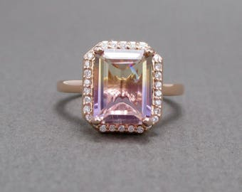 Custom 14K Rose Gold 2.48ct Genuine Ametrine Diamond Halo Ring  // Hand Mounted Engagement Bridal  // Anniversary Birthday // #3161