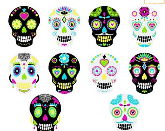 Sugar Skulls Clipart, Halloween Clipart, Day Of The Dead Clip Art, Sugar Skull Graphic, Skull Clipart, Mexican Skull Clipart, Skulls Vectors
