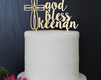 Personalized Baptism Communion Confirmation Cake Topper | Custom Name