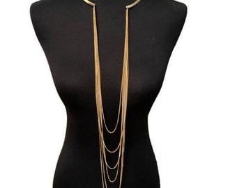 Statement Golden Tassel Chain Necklace NK7001