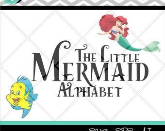 The Little Mermaid Alphabet svg, Letters svg, Numbers svg, Disney svg, svg files for Cricut,svg Fonts, Silhouette Studio, Cutting Files svg.