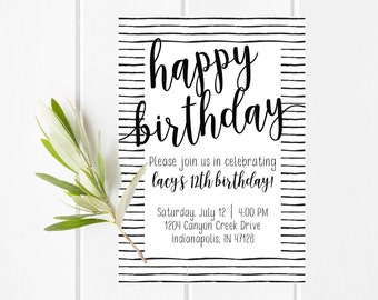 Simple Printable Birthday Invitation, Teenage Birthday Card, Simple Black and White Birthday Invitation