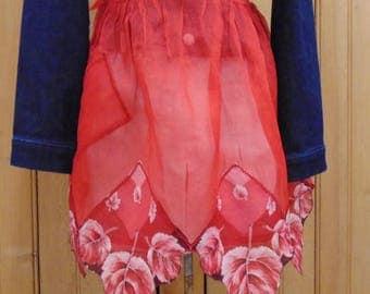 Red Organdy Handkerchief Apron