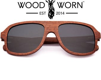 Wood Worn Brand Wooden Aviator Sunglasses with Polarized Lenses