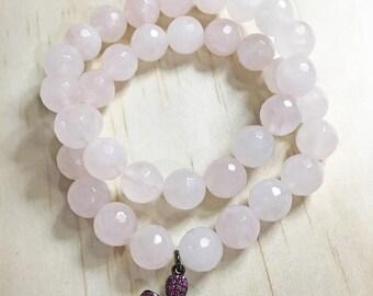 Rose Quartz Bracelet, Rose Quartz Jewelry, Stretch Bracelets, Beaded Bracelets, Bracelets for Women, Stacking Bracelets, Friendship Gift
