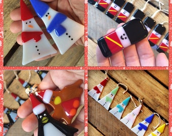 2x Cute XMAS Mix and Match choose Two Original Fused Glass Christmas Decorations unique,gift,hanging,trinket,soldier,snowman,robin,penguin