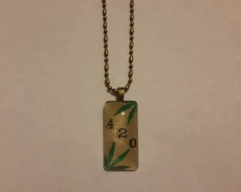 Handmade Glass Tile Vintage look 420 Necklace with Bronze Dot and Dash Chain