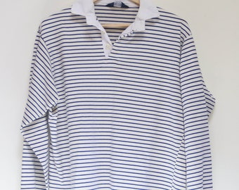Vintage Rugby Shirt Yellow and White Polo-Mate Cotton Mens Collared Striped Long Sleeved