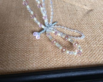 Pink crystal/pearl dragonfly garden stake and magnet