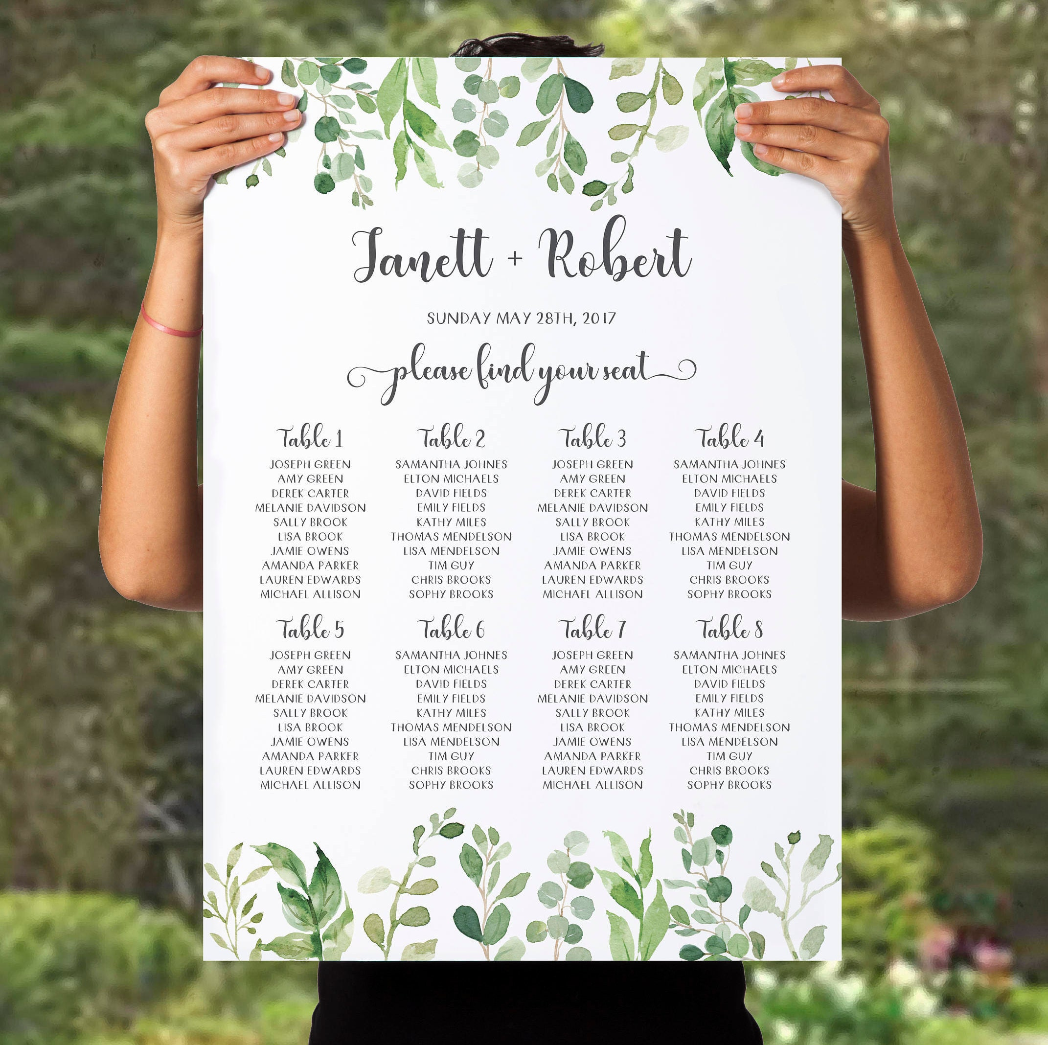 green wedding seating chart printable outdoor plan table botanical ...