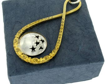 Infinite, Sterling Silver and Brass Pendant