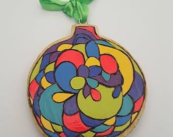 Rainbow Decoration,Rainbow Home Decor,Handpainted Wooden Ornament,Hanging Round Ornament,Woodburned Ornament,Wooden Home Decor,Boho Ornament