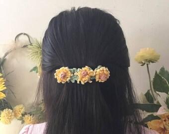 Sunflower Crochet  Barrette.