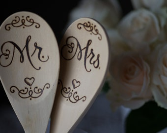 Wood Burned Spoons-Mr. and Mrs. Set