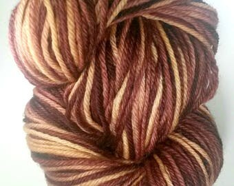 On Sale - WINE & CHEESE, Indie Dyed Variegated Worsted Yarn, Superwash Peruvian Highland Wool, Hand Dyed Yarn