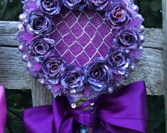 wish jar, purple wand, alternative flower, purple flowers, secret message, nontraditional guest book, table decoration, purple wall hanging