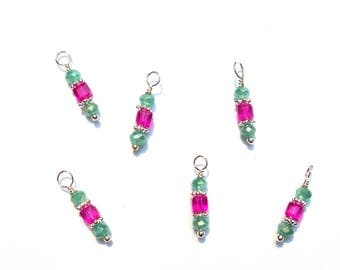 6PC. Frosted Sea green and Pink AB Austrian Crystal Bead Dangle Charm// AB Crystal Dangle Charms//Adorned with  Silver Tone Plated Accents