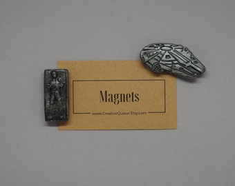 Star Wars Inspired Han Solo and Millennium Falcon 3D Magnet Set: Unique Graduation Gift, Perfect for Geek Nerd Sci-Fi lover