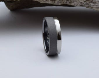 His wedding band, mens wedding band with a sandblasted and mirror polished finish, black wedding band for him or her, black engagement ring