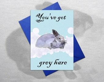 Funny birthday card, grey hair card, grey hare card, funny rabbit card, Funny Bunny card, Funny greetings card, Funny pet card, animals card