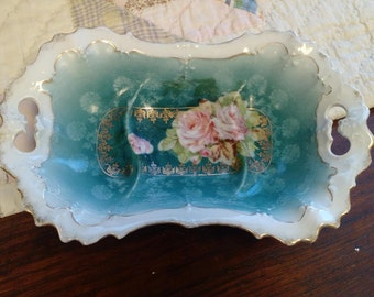 Porcelain Bone Soap Dish, Dresser or Soap Dish with Teal and Pink Floral,  Mother's Day Gift / Birthday Gift - Victorian Decor