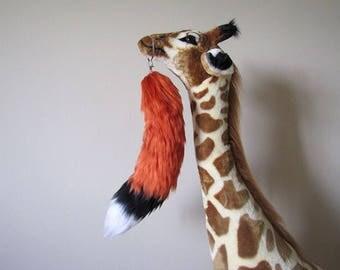 Orange Fox Yarn Tail Keychain (Fully Wired)