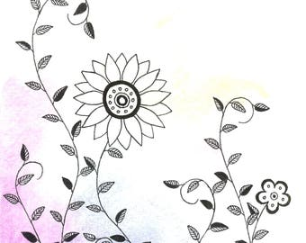 Watercolor Floral Card-Design 2