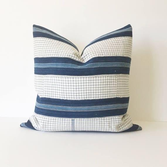 20 x 20 Indigo Denim and Ivory Check Stripe Pillow