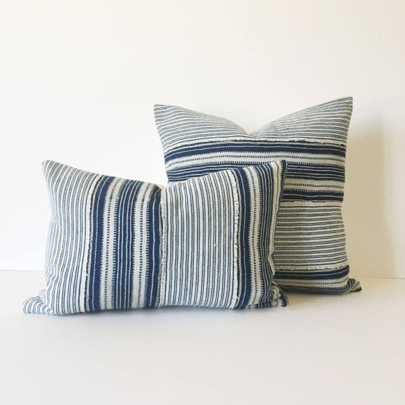 18 x 12 Indigo and Ivory Striped Pillow Cover