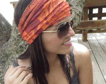 Orange Yoga Headband, Running Headband, Fitness Headband, Hippie Wide Headband, Summer Women Head Wrap, No Slip Headband, Bohemian Turban