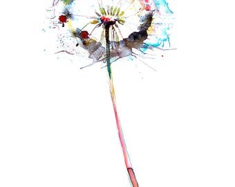 Watercolor Dandelion wall art print wall Home decor living room decor painting Watercolor flower print gift for her Colorful Watercolour