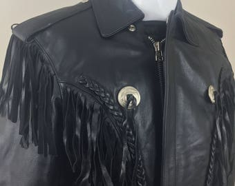 Vintage Cool Rider Black Leather Biker's Jacket with Bat Wing Fringe and Removable Interior Lining/Size 38