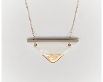 necklace porcelain and gold pendant gold dipped necklace nickel free chain women gift triangle necklace geometric necklace