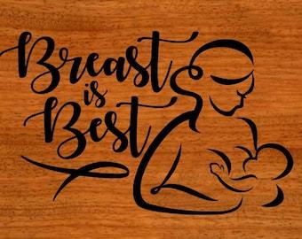 Breast Is Best - Breastfeeding - Decal - Breastfed - Crunchy Mama - Mom and baby car decal