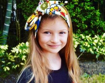 Matching Headbands- Devorppa Noir Headband- Flower Headband; Headwrap; Bow Headband; Flower Hair Bow; Flower Headwrap; Mommy and Me Headband