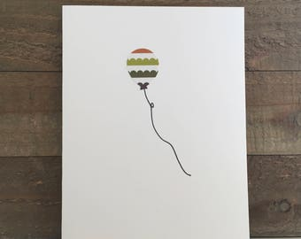 Happy Birthday Card Set / Orange,Green,Brown Striped Balloon / Birthday Greeting Card / Birthday Invitations