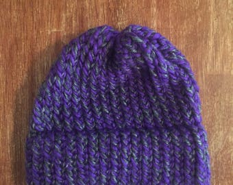 Grey and Violet Intertwined Knit Hat
