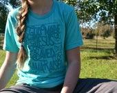 Southern T Shirt/Flowers/Alabama/Christian/Aqua