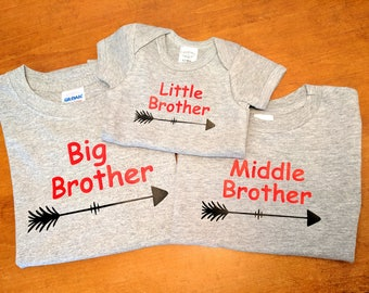 Big Middle Little Brother Matching Shirts with Arrows - Matching Brother Shirts - Big Brother Middle Brother Little Brother - Grey Shirts