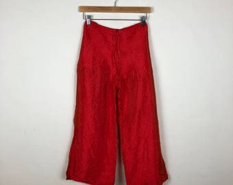 Vintage Sheen Red Pants Size S, Red Flowy Pants, Wide Leg Pants