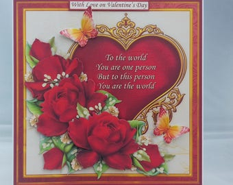 Valentine's card - Heart with verse and flowers