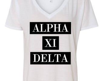 Alpha Xi Delta Classy Relaxed V-Neck Graphic Tee..AXiD Shirt..Relaxed Sorority Shirt..Little Sister Gift..Senior Gift..Bid Day Shirt