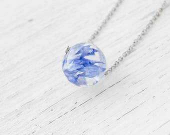 Terrarium necklace Terrarium jewelry Cornflower Resin jewelry Botanical resin necklace Nature Jewelry Nature resin jewelry