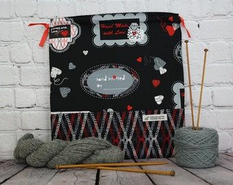 Knitted with Love bag,  Knitting Project Bag, Crochet Bag, Yarn Bag,  Project Bag, Sock knitting bag, Shawl project bag